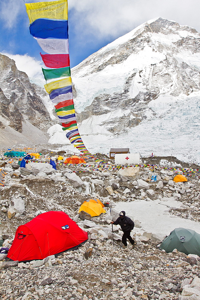 View of Everest Base Camp and a man walking