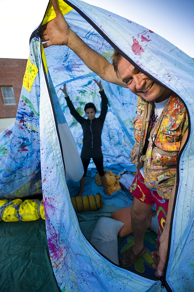 Preparing to inflate a float for a parade in Santa Barbara. The parade features extravagant floats and costumes.