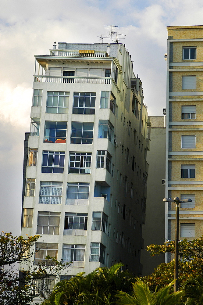 Crooked buildings in Santos, Brazil