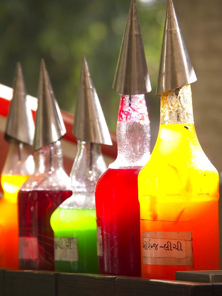Flavorings for making sweetned ice desert in Ahmedabad, Gujarat, India.