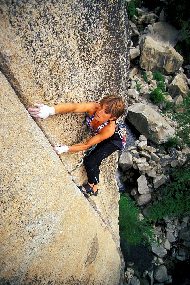 Rikke Ishoy working her way up Fish Crack 5.12 in Yosemite National Park, California.