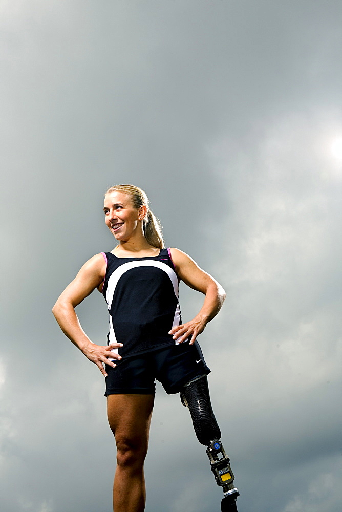 Sarah Reinertsen, the first female amputee to complete the Ironman Triathlon World Championship, poses for a portrait in Carlsbad, California.