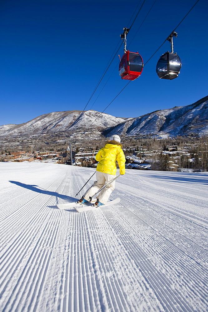 Woman skiing in Aspen, Colorado.