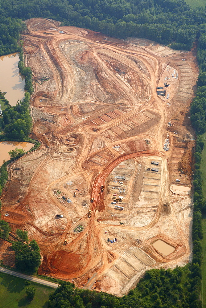 Aerial view of new homes under construction near Greenville SC