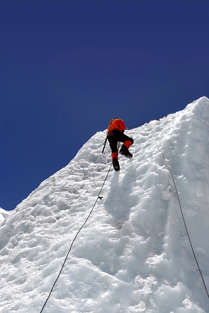 Mountaineers climbing up the Khumbu Icefall on the route up Everest, Everest Base Camp, Khumbu, Nepal