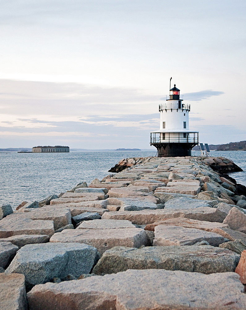 Spring Point lighthouse stands guard at the entrance of Portland harbor, Maine.