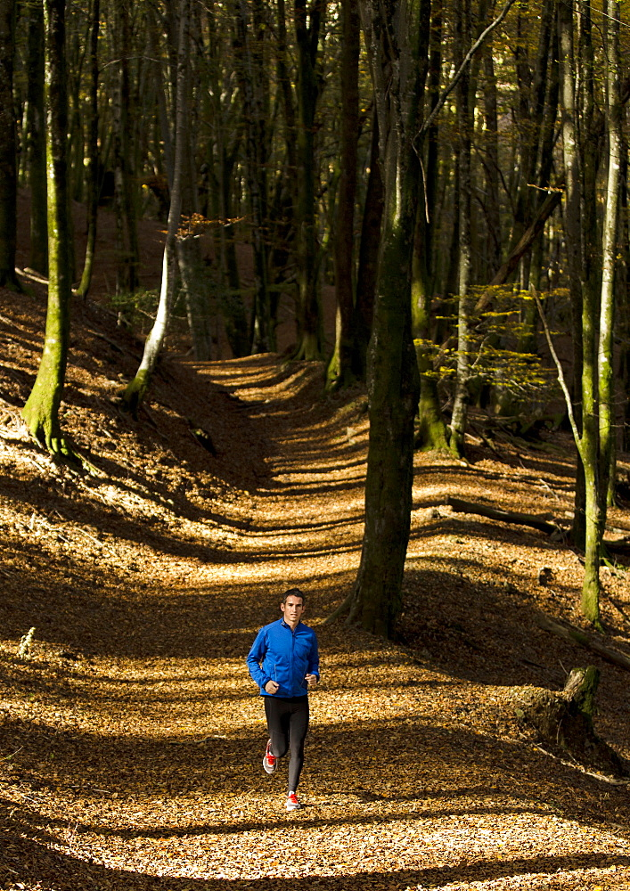 Spanish athlete Aitor Porres  posing on a forest with yellow-gold colour leafs in Artikutza, Spain.