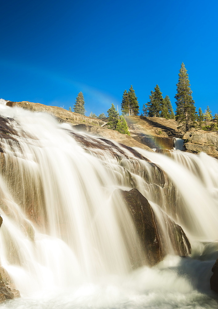 Rainbow at top of Waterwheel Falls on the Tuolumne River, Grand Canyon of the Tuolumne, Yosemite National Park