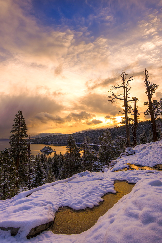 Snowy sunrise over Emerald Bay, Lake Tahoe - 857-89950