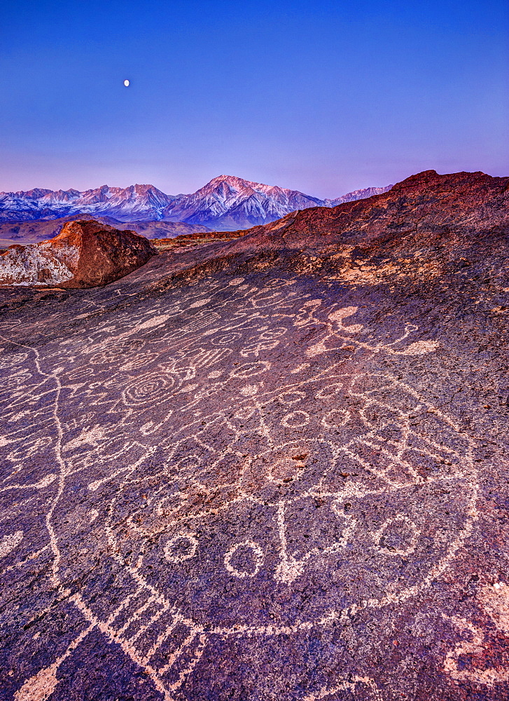 Piute Petroglyphs and full moon at sunrise with snow-capped Sierra in background, Eastern Sierra, California