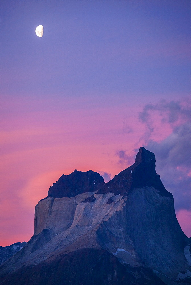 Moonrise over one of the iconic Cuernos in Chile's Torres del Paine national Park.