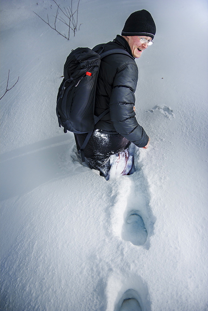 Zeljko Rakic was leading when he failed into the snow up to his waist. Djakovo mountains, Central Serbia.