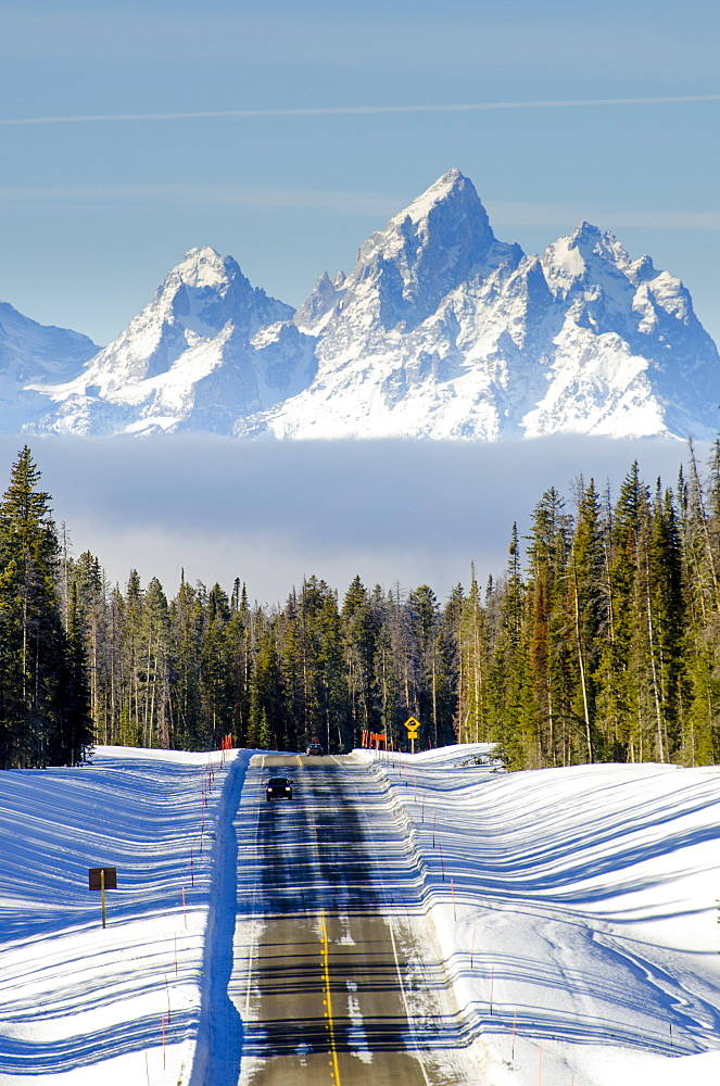 US Highway 287 and mountains in the winter, Jackson Hole, Wyoming, united States