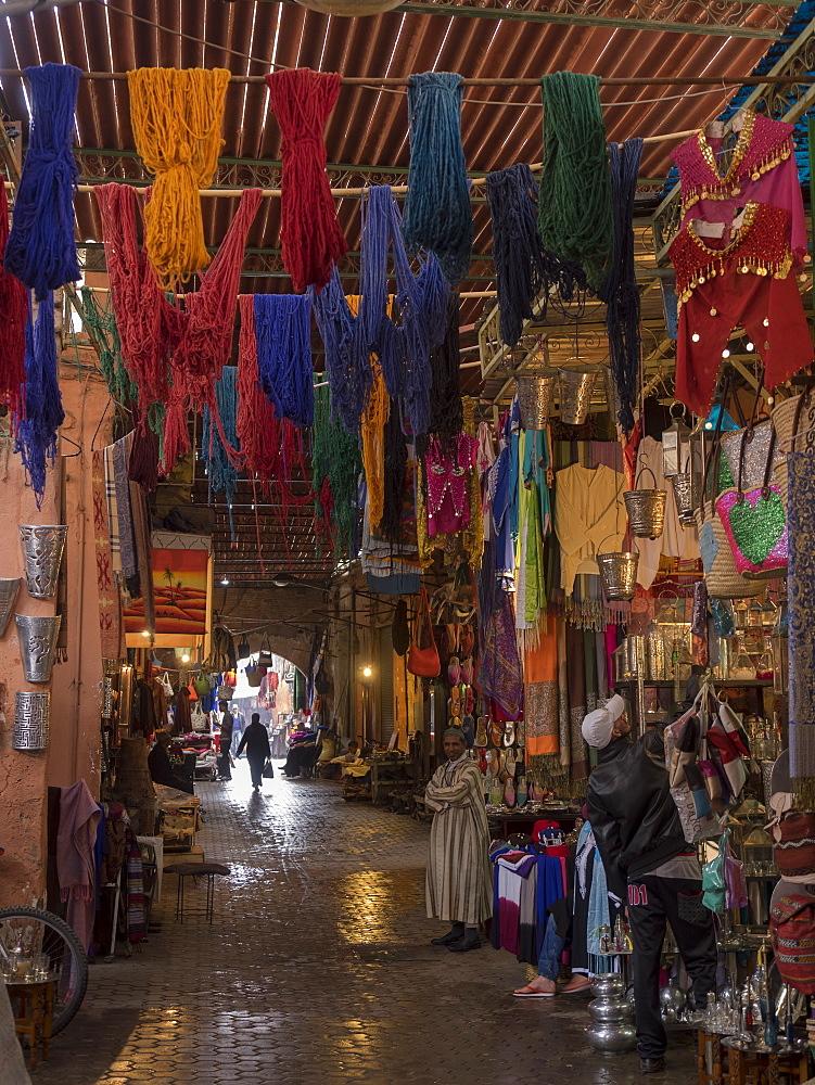 Inside Medina, old market at Marrakesch, Morocco.
