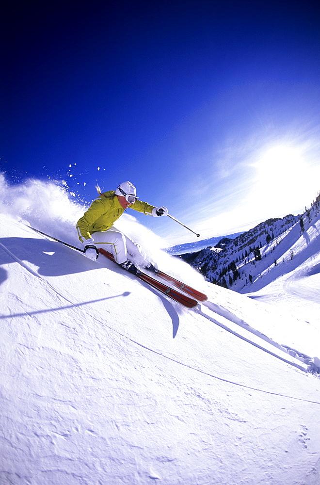 Vickie Bates skiing at Snowbird, Utah, United States of America