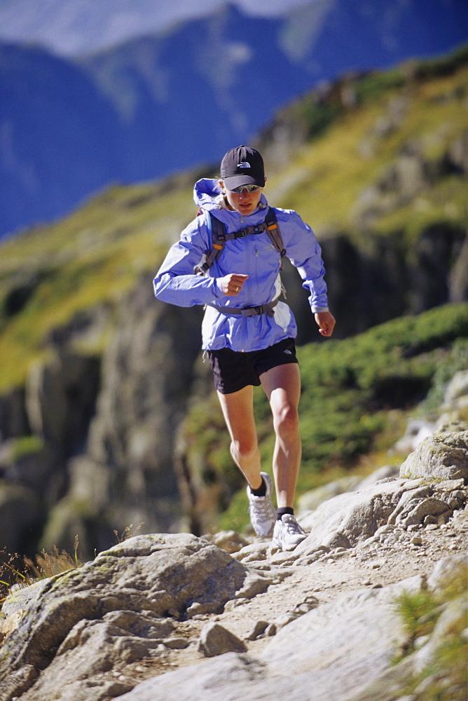 Elizabeth Hawker running at the Brevent, France, France