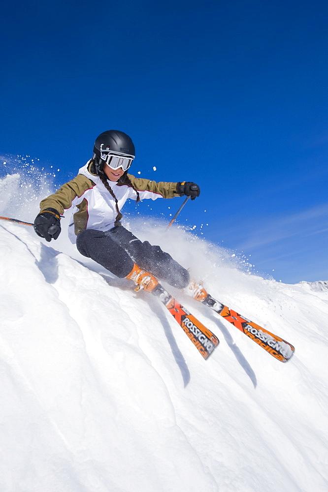 Isabella Wright skiing at Snowbird, Utah, United States of America