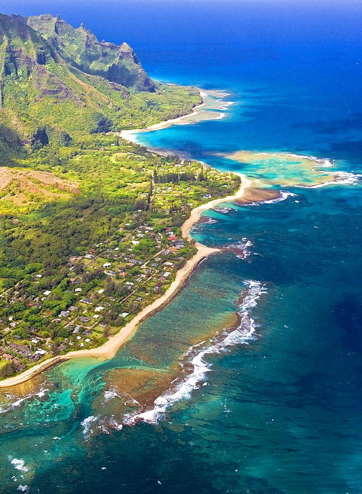 Haena and Tunnels Reef from the air, Kauai.
