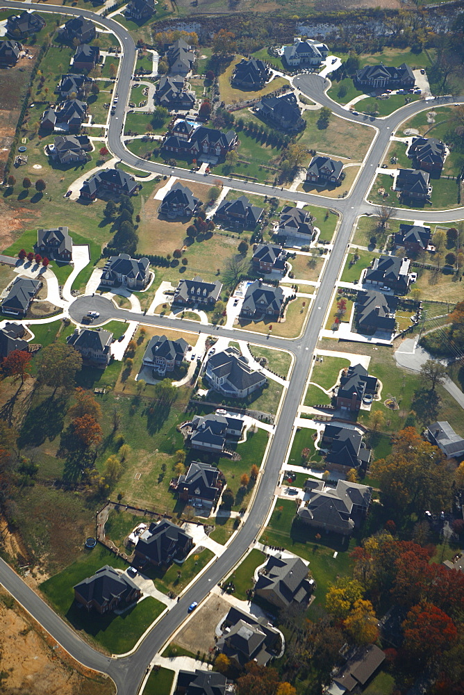 Aerial view new cluster homes in Chattanooga, TN