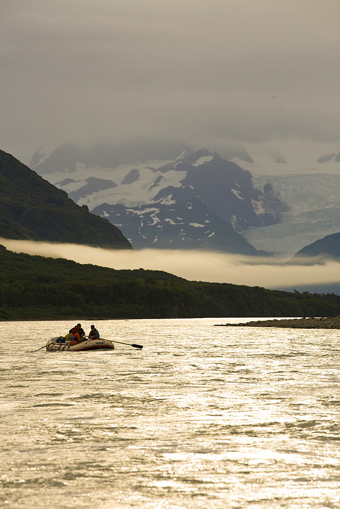 Raft floating down a river in Alaska, United States.