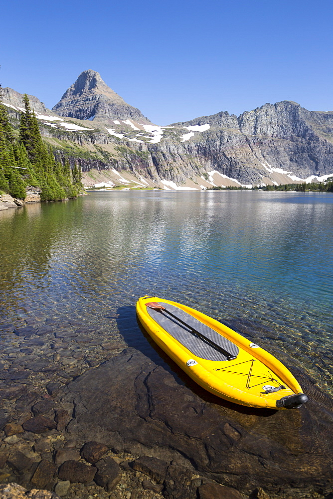 An inflatable stand up paddle board (SUP) at Hidden Lake in Glacier National Park.