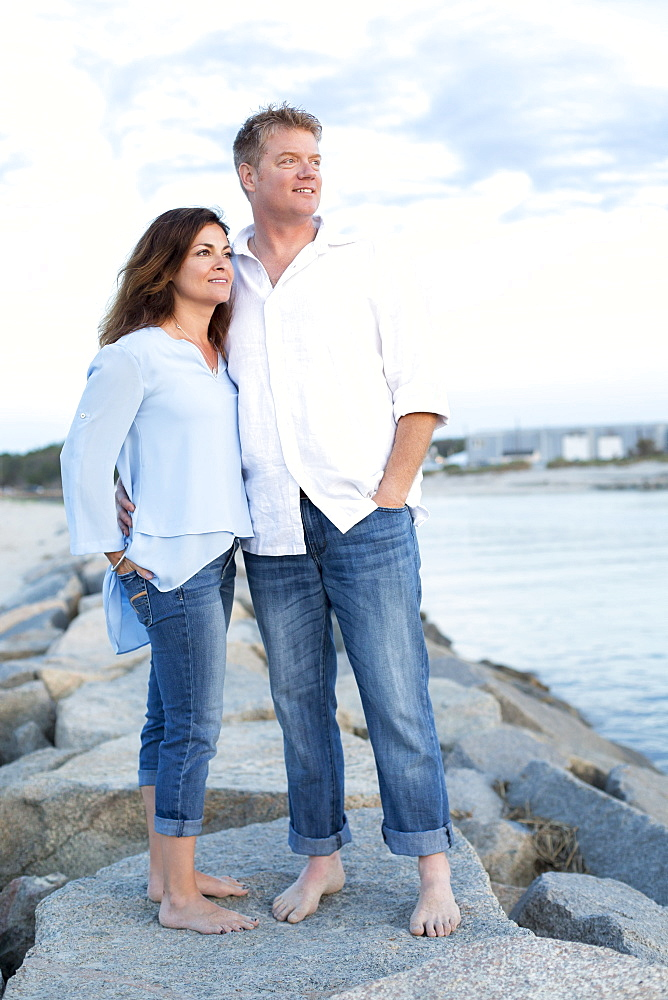 A couple are photographed at a Cape Cod beach, Dennis, Massachusetts, United States of America
