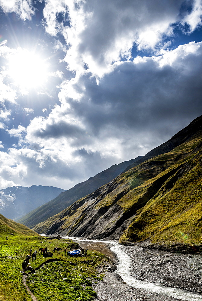 Stream Crossing in the National Park of Tusheti