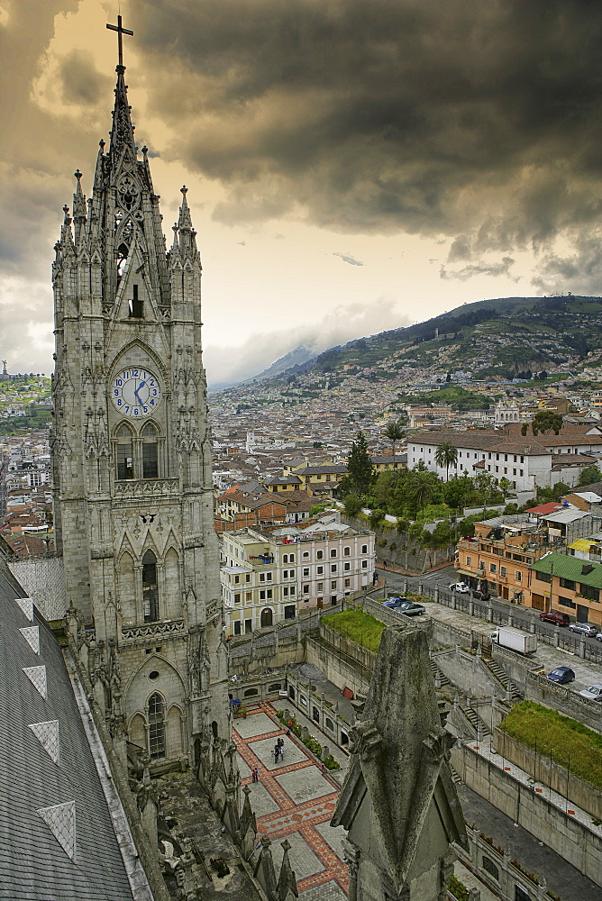 Ecuador, Quito, church steeples of the Basilica of the National Vow