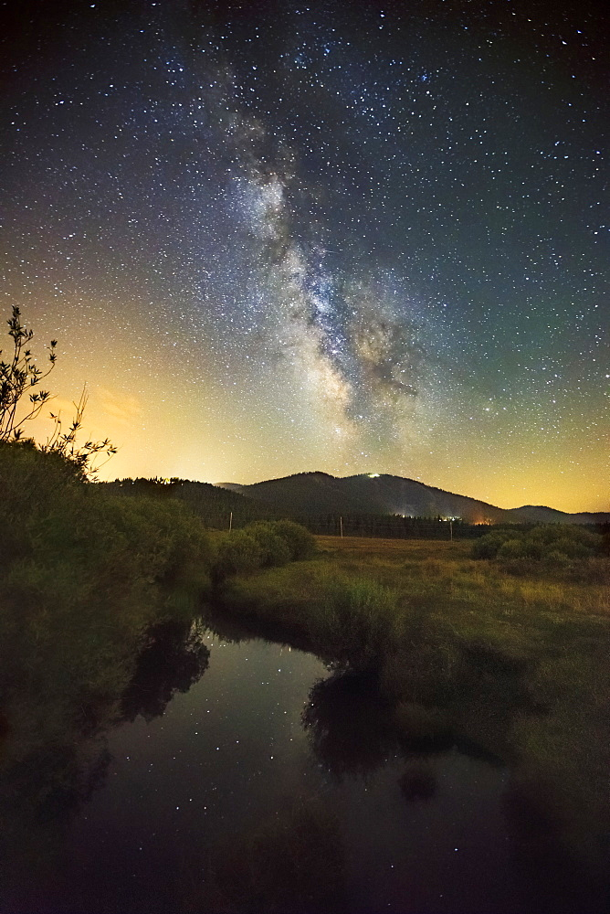 View of milky way shining in the night sky over Martis Valley, Truckee