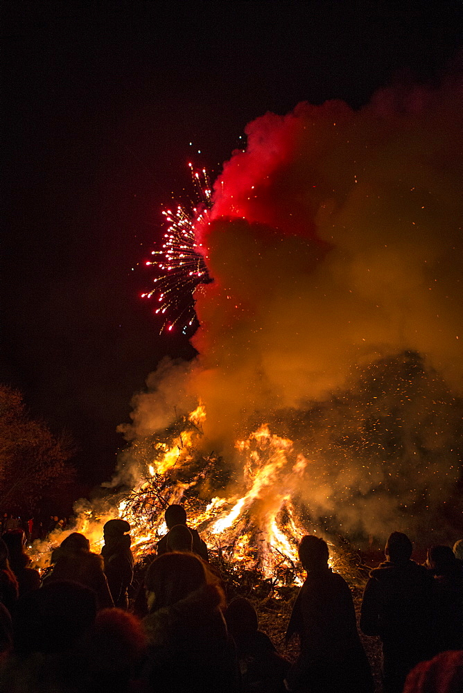 People Amidst Bonfire Against At Night, Dardago, Friuli, Italy - 857-93391