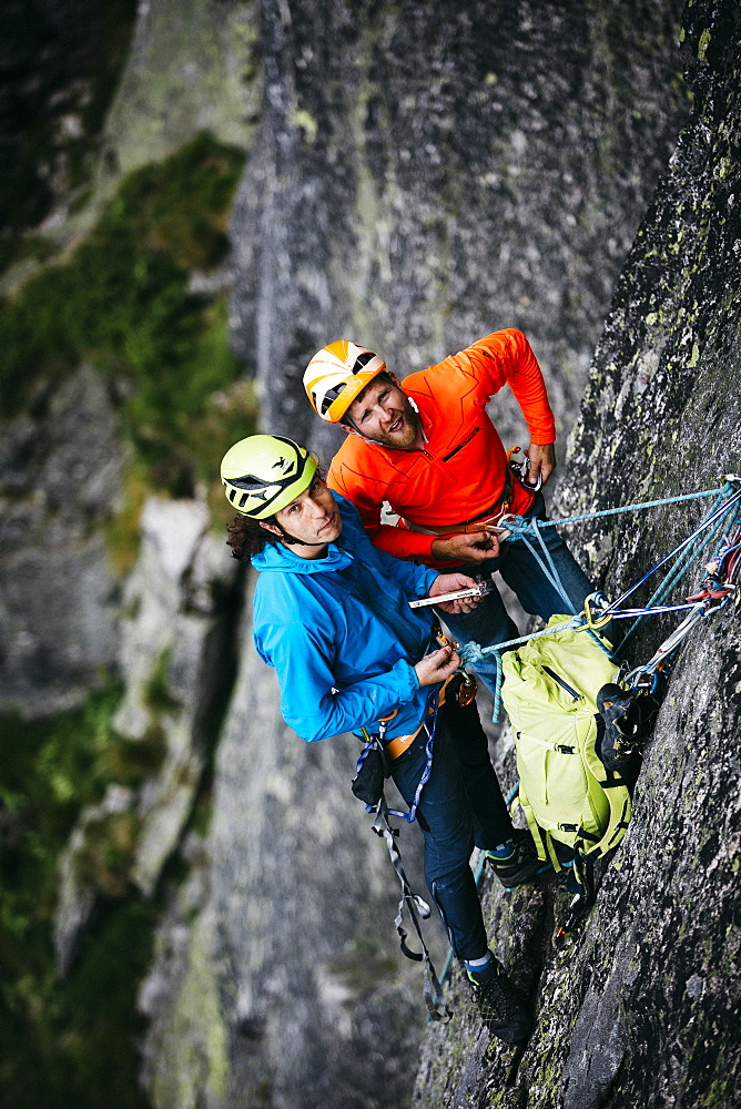 Climbers Are Hanging On The Rock Of Tatra Mountains, Poland