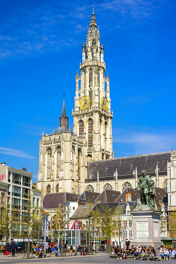 Tower Of Cathedral Of Our Lady On Groenplaats Square In Antwerp, Belgium