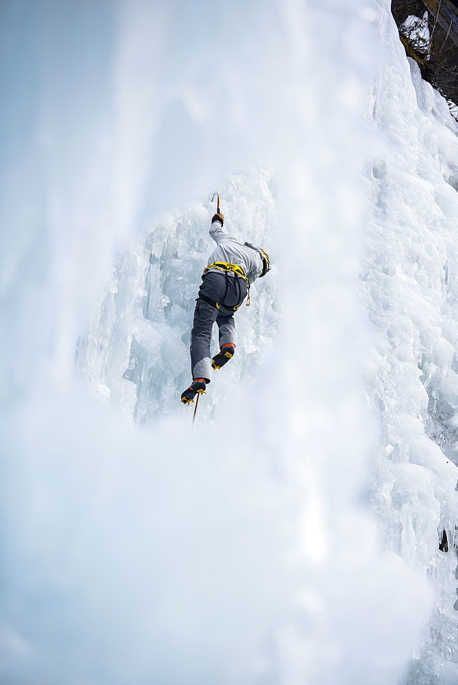 Male Climber Ice Climbing In Ceresole Reale Ice Park, Piemonte, Italy