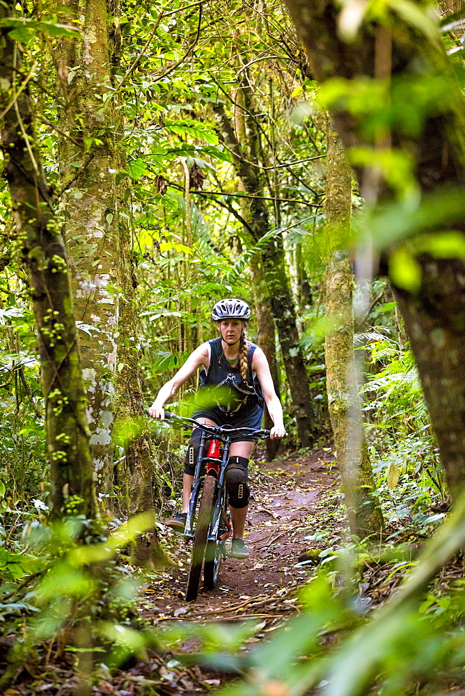 Female Mountain Biker Riding In Forest Trail Of Bali, Indonesia