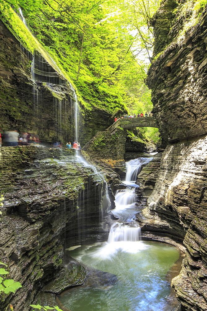 Tourist Exploring Waterfall Through Watkins Glen State Park In New York, Usa