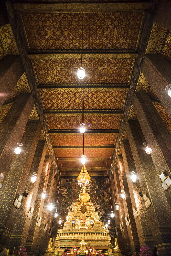 Interior View Of The Phra Ubosot Hall At The Wat Suthat Temple In Bangkok, Thailand