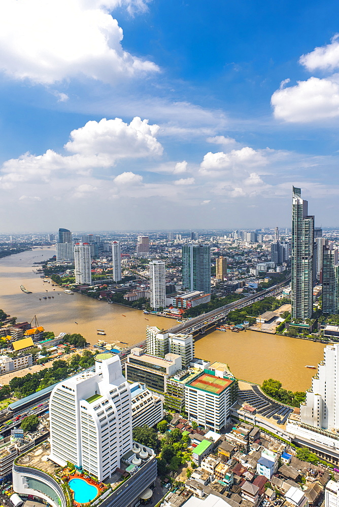Aerial View Of Bangkok Skyline With The Chao Phraya River