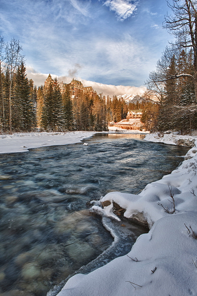 Banff Springs Hotel and river, winter