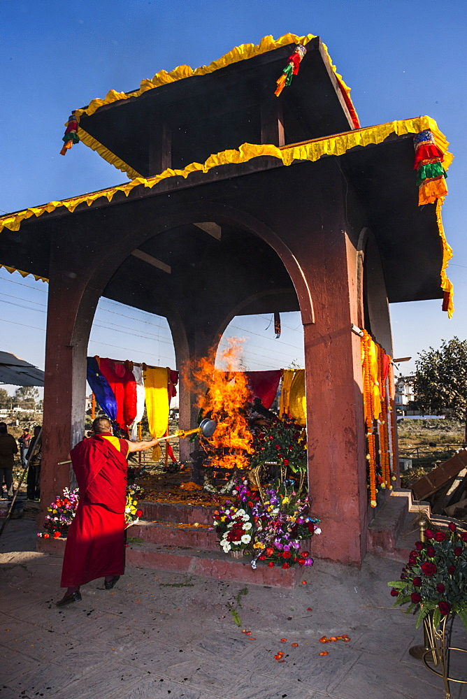 A Cremation Ceremony Of Former King Of Mustang In Teku, Nepal