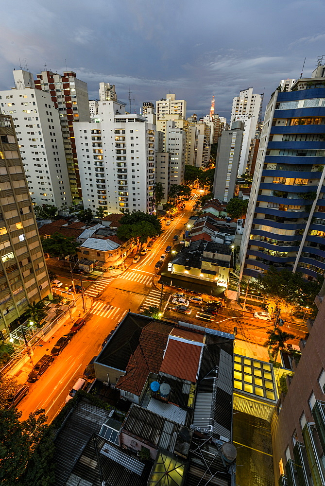 Early night view to tall residential buildings in central São Paulo, Brazil