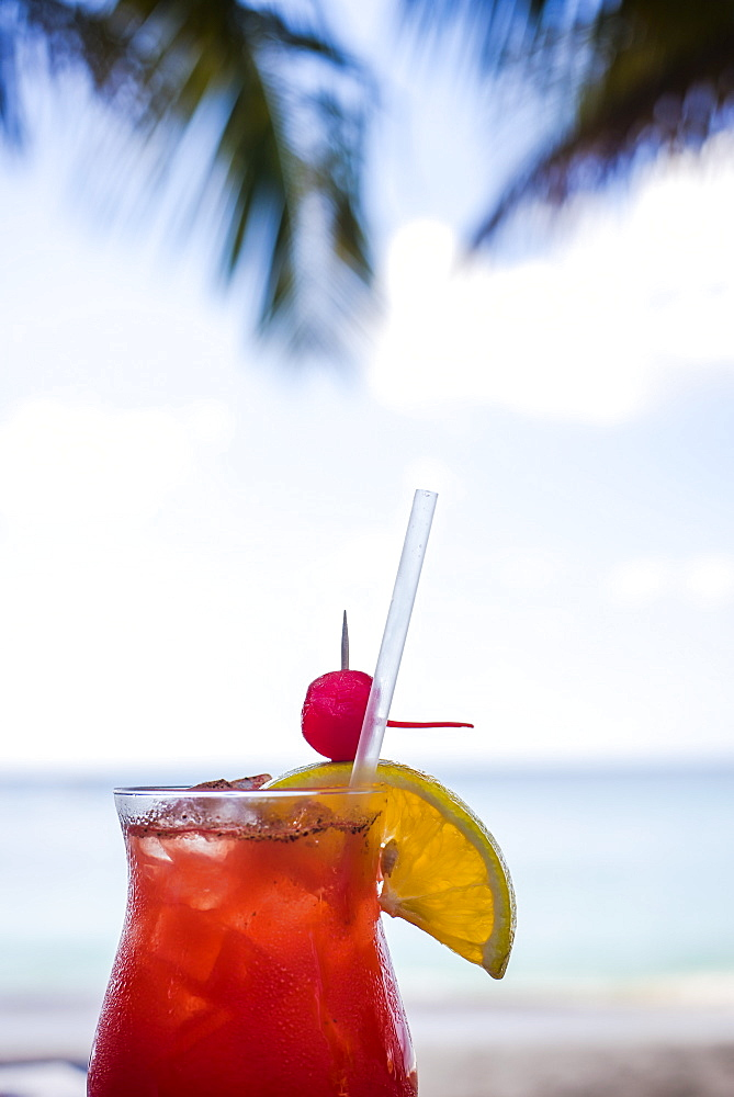 A fruit-laden beverage sweats in the warm tropical air