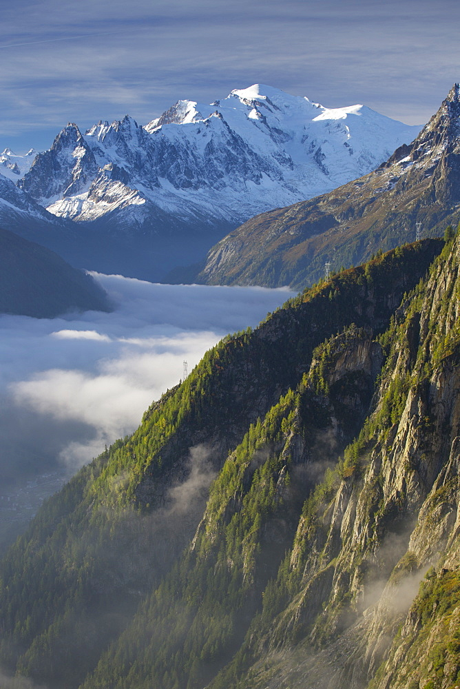 The view over Mont Blanc and the Chamonix valley as seen from the Emosson lake and dam.