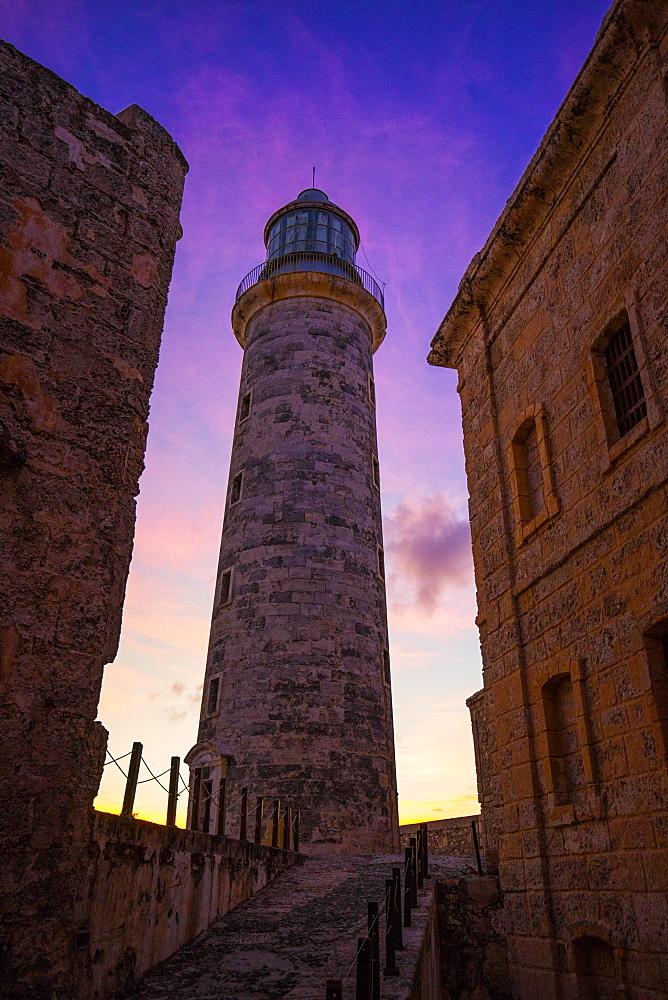 Havana Castillo de Tres Reyes del Morro lighthouse at sunset