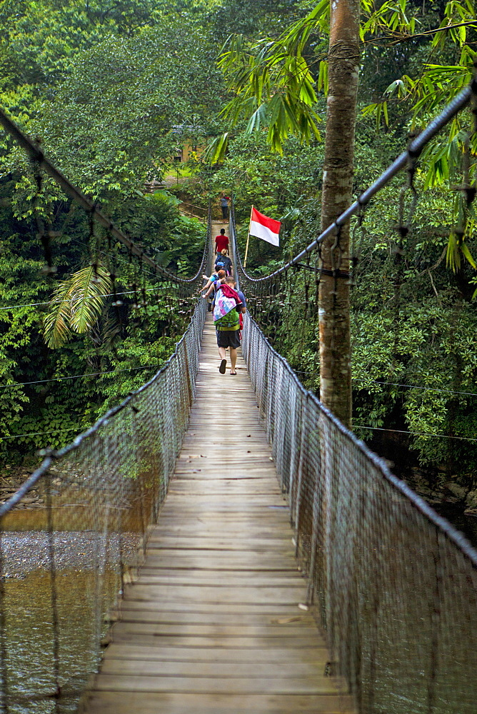 A group of travelers walk across a suspension bridge hanging over a jungle river near the village of Tangkahan, Sumatra, Indonesia