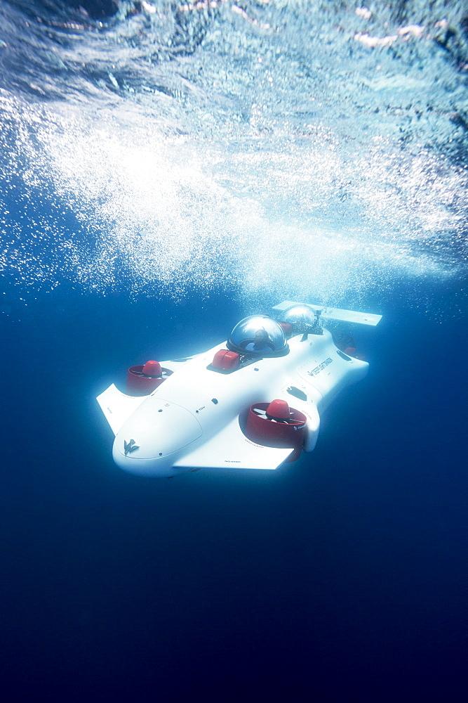 Prototype two-man personal submarine traveling underwater, Lake Tahoe, California, USA