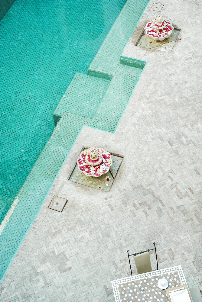 Details of Arabic architecture and swimming pool, Madina, Marrakesh, Morocco