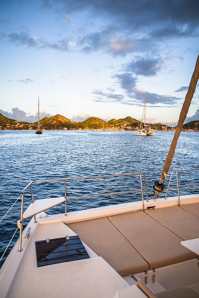Scenic view from catamaran sailing in Bourg de Saintes, Isles des Saintes, Guadeloupe