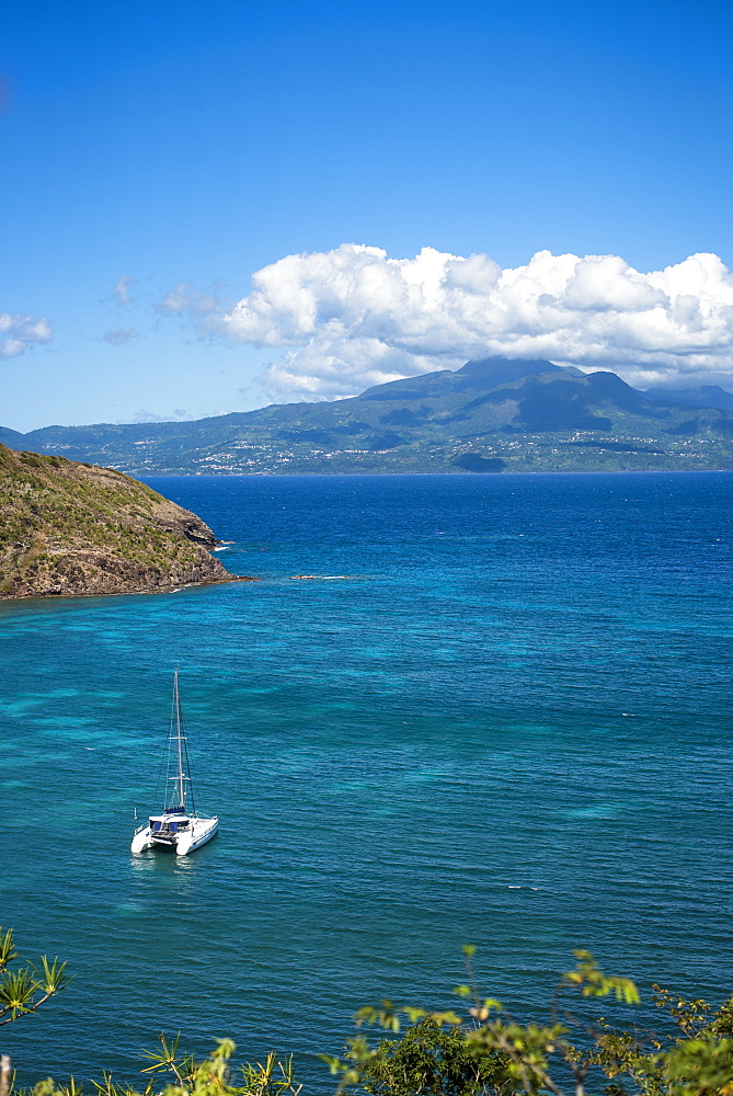 Distant view of catamaran sailing in sea, Bourg de Saintes, Isles des Saintes, Guadeloupe