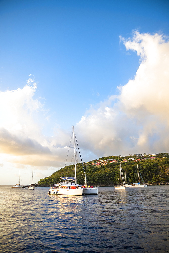Scenic view of coastline with anchored sailboats, Bouillante, Basse Terre, Guadeloupe