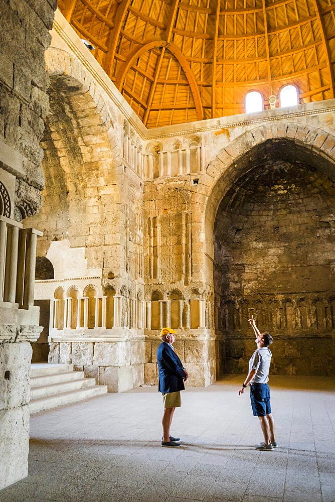 Two male tourists inside of Umayyad Palace, Amman, Jordan